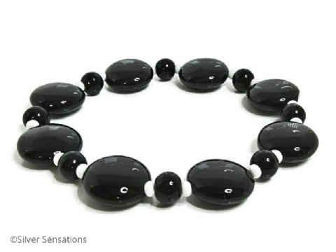 Black Onyx Puff Coin Beaded Stretch Bracelet With White Accents